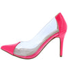 Carnation37 Neon Pink Pointed Toe Lucite Stiletto Pump Heel - Wholesale Fashion Shoes