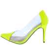 Carnation37 Neon Yellow Pointed Toe Lucite Stiletto Pump Heel - Wholesale Fashion Shoes