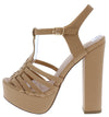Caroline13 Nude Pu Women's Heel - Wholesale Fashion Shoes