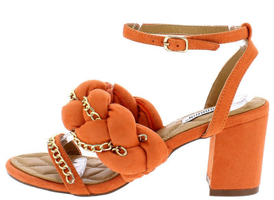 Carrie23 Orange Gold Chain Twisted Chunky Short Heel - Wholesale Fashion Shoes