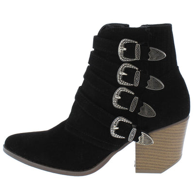 Carrie3 Black Multi Western Buckle Sliced Heel Ankle Boot - Wholesale Fashion Shoes