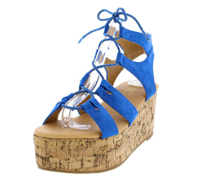 Carrin10 Blue Lace Up Chunky Cork Platform Wedge - Wholesale Fashion Shoes