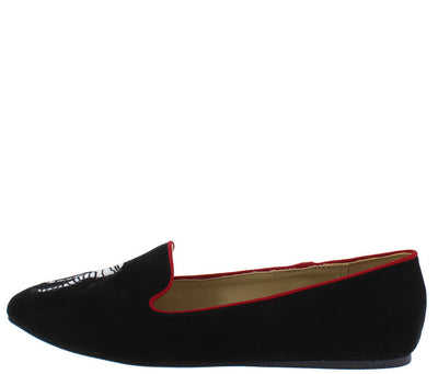 Carson11 Black Venus Zebra Red Piping Loafer Flat - Wholesale Fashion Shoes