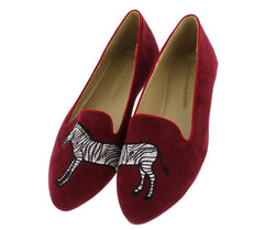 CARSON11 BURGUNDY VENUS ZEBRA RED PIPING LOAFER FLAT - Wholesale Fashion Shoes