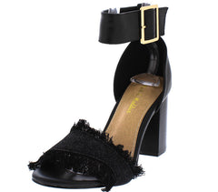 CARTER08 BLACK DENIM FRAYED ANKLE STRAP CHUNKY WOMEN'S HEEL - Wholesale Fashion Shoes