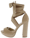 Carter22 Natural Open Toe Cross Strap Ankle Wrap Heel - Wholesale Fashion Shoes