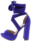 Carter22 Ultra Violet Open Toe Cross Strap Ankle Wrap Heel - Wholesale Fashion Shoes