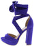 Carter22 Ultra Violet Open Toe Cross Strap Ankle Wrap Heel