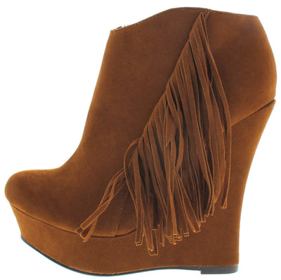 Emily Cognac Fringe Side Wedge Ankle Boot - Wholesale Fashion Shoes
