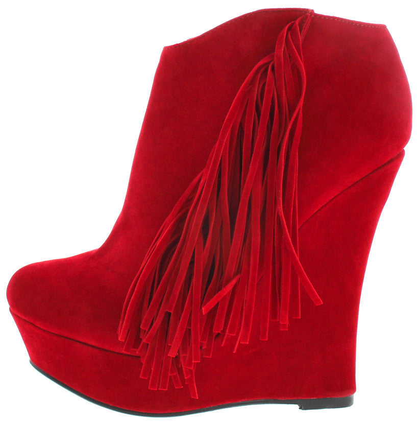 97f2d257c3f EMILY RED FRINGE SIDE WEDGE ANKLE BOOTS FROM  12.88 -  27.88 ...