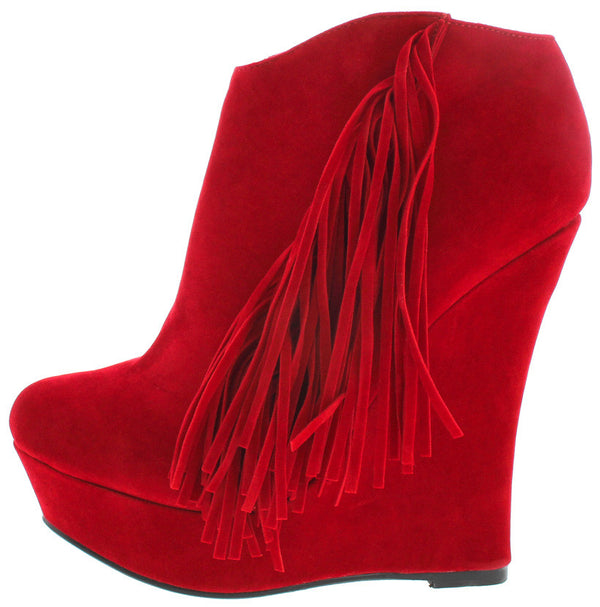 7a9bb29183a6 EMILY RED FRINGE SIDE WEDGE ANKLE BOOT