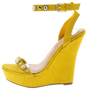 ef374f1cf Benjamin044 Yellow Embellished Open Toe Ankle Strap Platform Wedge - Wholesale  Fashion Shoes