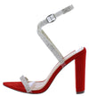 Ruby191 Red Rhinestone Open Toe Cross Strap Heel - Wholesale Fashion Shoes