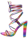 Sabrina052 Rainbow Strappy Open Toe Ankle Wrap Heel - Wholesale Fashion Shoes