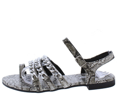 Cash4 Snake Open Toe Strappy Chain Slingback Sandal - Wholesale Fashion Shoes