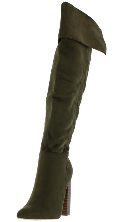 Cash Olive Knee High Cuffed Pointed Toe Heel Boot - Wholesale Fashion Shoes
