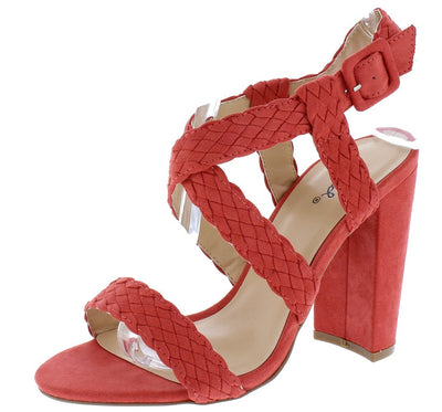 Cashmere24 Coral Rose Suede Pu Woven Open Toe Cross Strap Heel - Wholesale Fashion Shoes