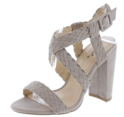 Cashmere24 Taupe Suede Pu Woven Open Toe Cross Strap Heel - Wholesale Fashion Shoes