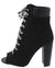 Cashmere32x Black Suede Pu Peep Toe Lace Up Boot
