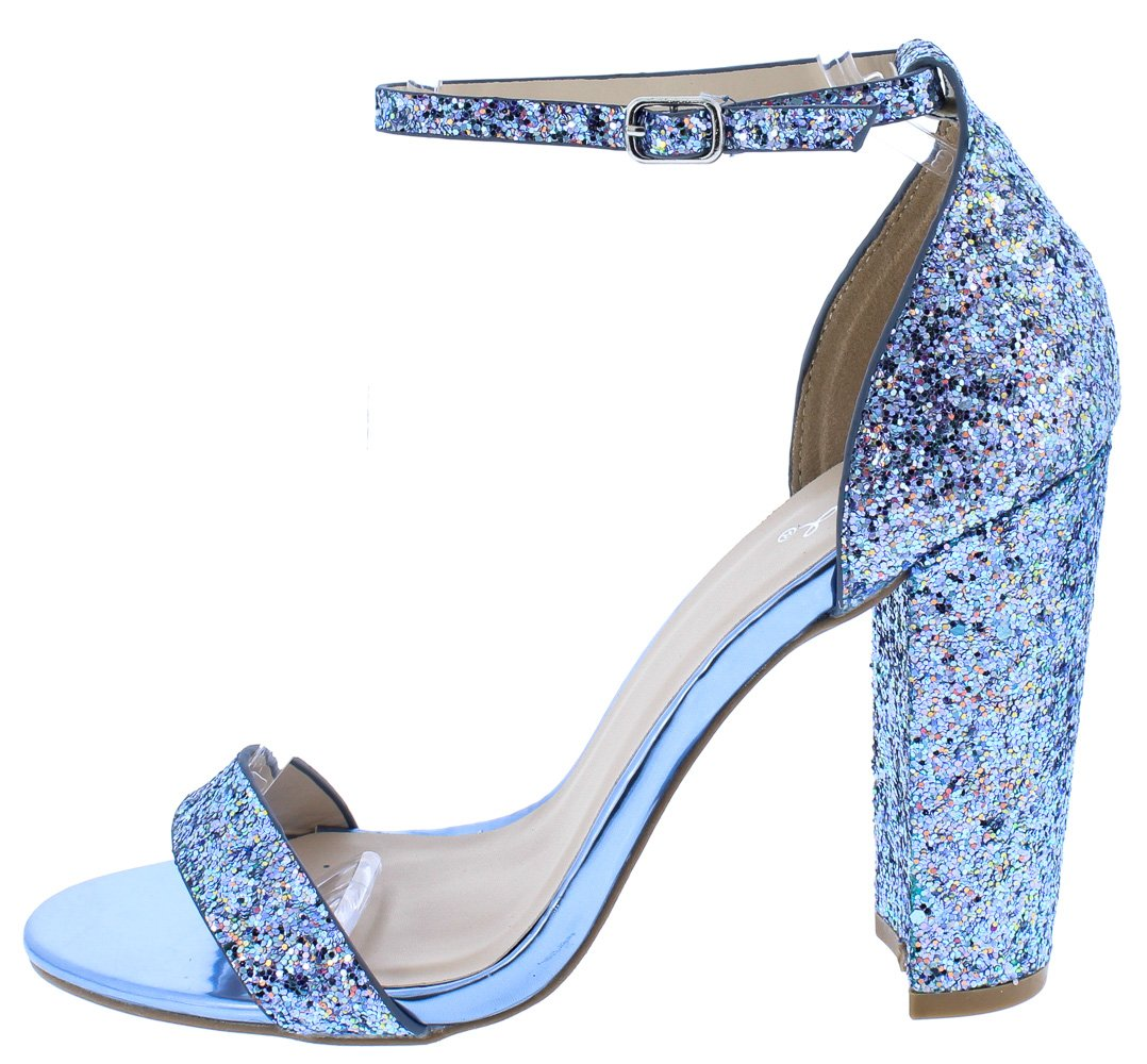 Cashmere34 Light Blue Multi Glitter Open Toe Chunky Heel - Wholesale  Fashion Shoes
