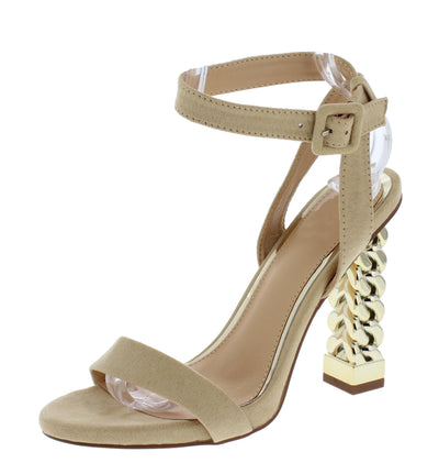 Frida030 Nude Open Toe Ankle Strap Chain Block Heel - Wholesale Fashion Shoes