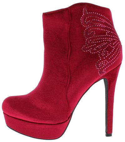 Catherine1 Wine Velvet Rhinestone Platform Ankle Boot - Wholesale Fashion Shoes