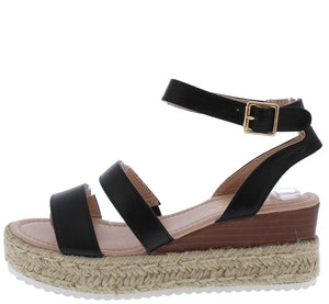 7cae0b734 Celenee26 Black Dual Strap Cut Out Ankle Strap Braided Wedge - Wholesale  Fashion Shoes