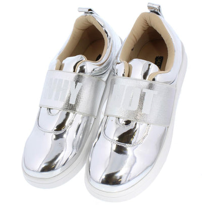 Anna266 Silver Mirror Elastic Band Why Not Sneaker Flat - Wholesale Fashion Shoes