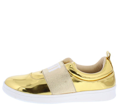 Anna266 Gold Mirror Elastic Band Why Not Sneaker Flat - Wholesale Fashion Shoes