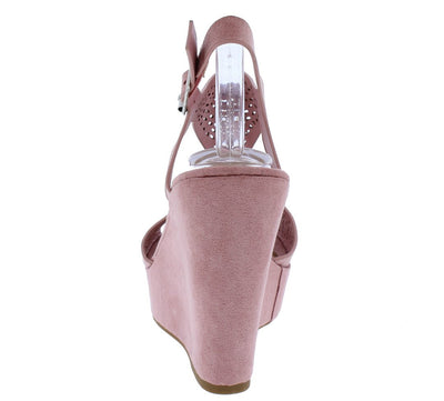Celsius16s Mauve Open Toe Cut Out Laser Cut Platform Wedge - Wholesale Fashion Shoes