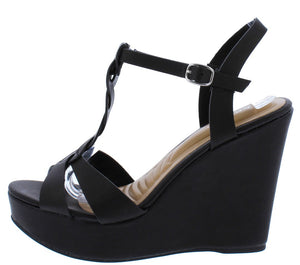 20cf4c8b66 Celsius26 Black Open Toe Twisted T Strap Platform Wedge - Wholesale Fashion  Shoes