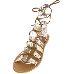 CESKY APRICOT FLORAL LACE UP WOMEN'S SANDAL - Wholesale Fashion Shoes