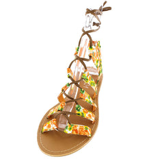 CESKY ORANGE FLORAL LACE UP WOMEN'S SANDAL - Wholesale Fashion Shoes