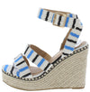 Chabah3 Blue Striped Open Toe Platform Espadrille Wedge - Wholesale Fashion Shoes