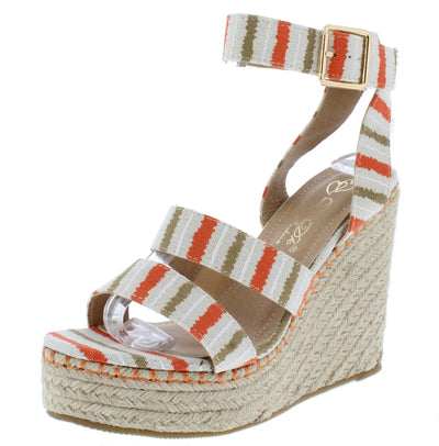 Chabah3 Orange Striped Open Toe Platform Espadrille Wedge - Wholesale Fashion Shoes