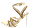 Chamise Gold Metallic Rhinestone Strappy Lucite Heel - Wholesale Fashion Shoes