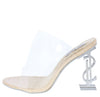Chantel Nude  Clear Lucite Peep Toe Mule Symbol Heel - Wholesale Fashion Shoes