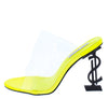 Chantel Yellow Clear Lucite Peep Toe Mule Symbol Heel - Wholesale Fashion Shoes
