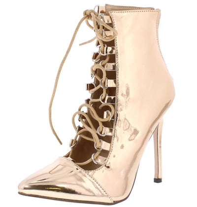 Willow023 Rose Gold Pointed Toe Lace Up Stiletto Ankle Boot - Wholesale Fashion Shoes