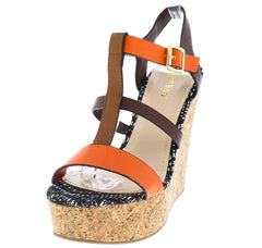 CHARADE04V ORANGE MULTI STRAP CORK WEDGE - Wholesale Fashion Shoes