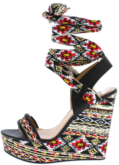Charade24m Black Multi Color Ankle Wrap Wedge - Wholesale Fashion Shoes