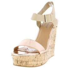 CHARADE30M ROSE GOLD OPEN TOE ANKLE STRAP PLATFORM WEDGE - Wholesale Fashion Shoes
