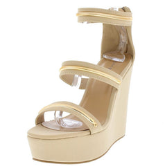 CHARADE61M NUDE NUBUCK GOLD METALLIC PLATFORM WEDGE - Wholesale Fashion Shoes