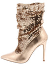 Monique024 Rose Gold Sequin Pull On Stiletto Boot - Wholesale Fashion Shoes