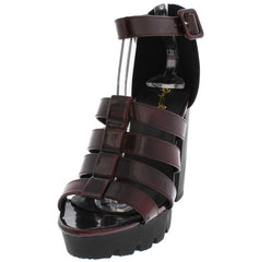 CHARLI02 BURGUNDY CAGED STRAPPY CHUNKY HEEL - Wholesale Fashion Shoes