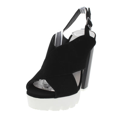 Charli16 Black Nubuck Slingback Heel - Wholesale Fashion Shoes