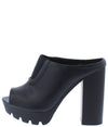 Charli15 Black Front Cut Peep Toe Lug Sole Block Heel - Wholesale Fashion Shoes