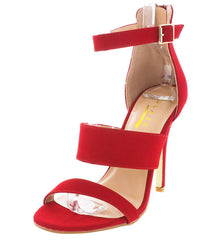 CHARLIE106 CRANBERRY TRIPLE STRAP OPEN TOE HEEL - Wholesale Fashion Shoes