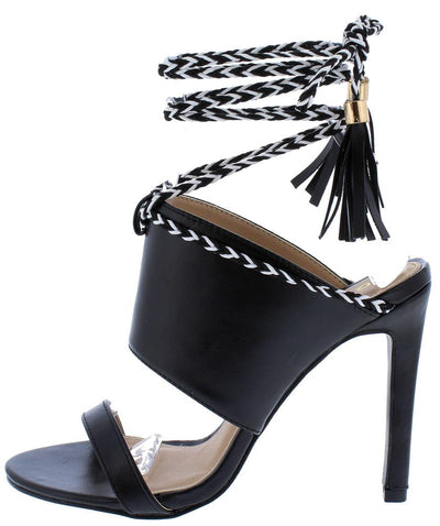 Charlie143 Black Pu Braided Ankle Wrap Mule Stiletto Heel - Wholesale Fashion Shoes