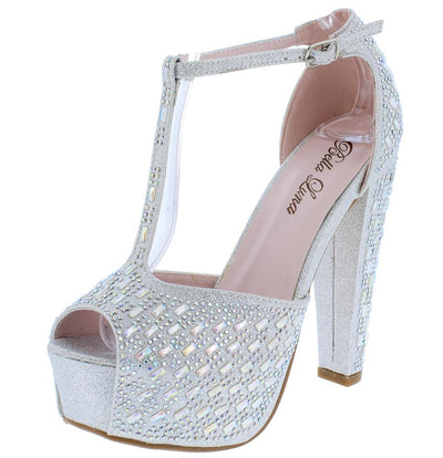 Charmy06 Silver Sparkle Peep Toe T Strap Platform Heel - Wholesale Fashion Shoes